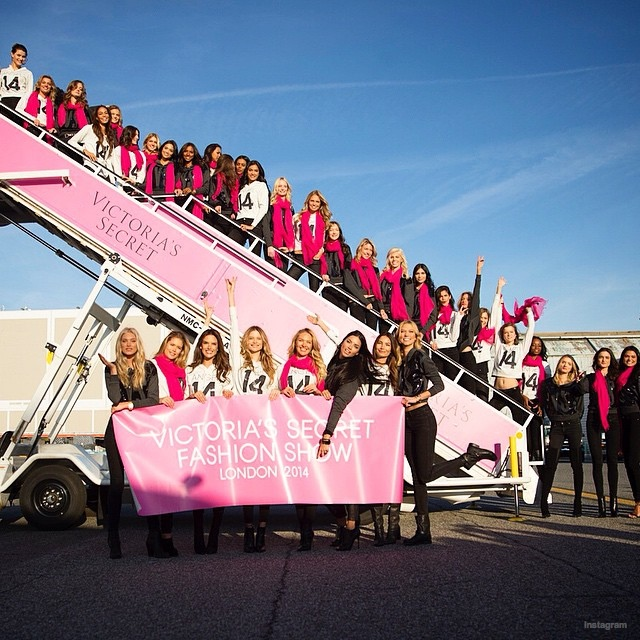 A bevy of beauties boarding the plane for the 2014 Victoria's Secret Fashion Show in London