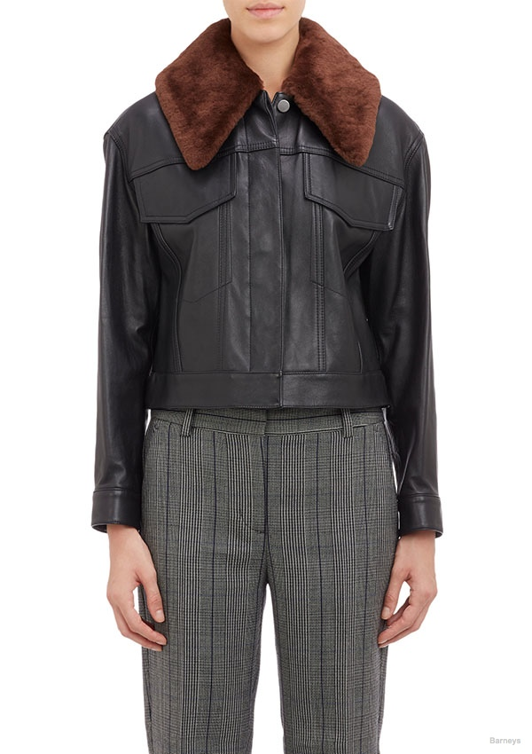 3.1 Phillip Lim Shearling-Collar Leather Jacket available for $929.00