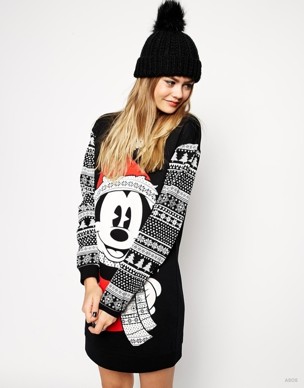 ASOS Sweater Dress in Christmas Mickey Mouse Fairisle Print