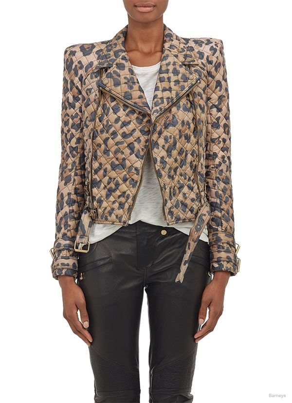 Balmain Leopard Quilted Moto Jacket available at Barneys for $1599
