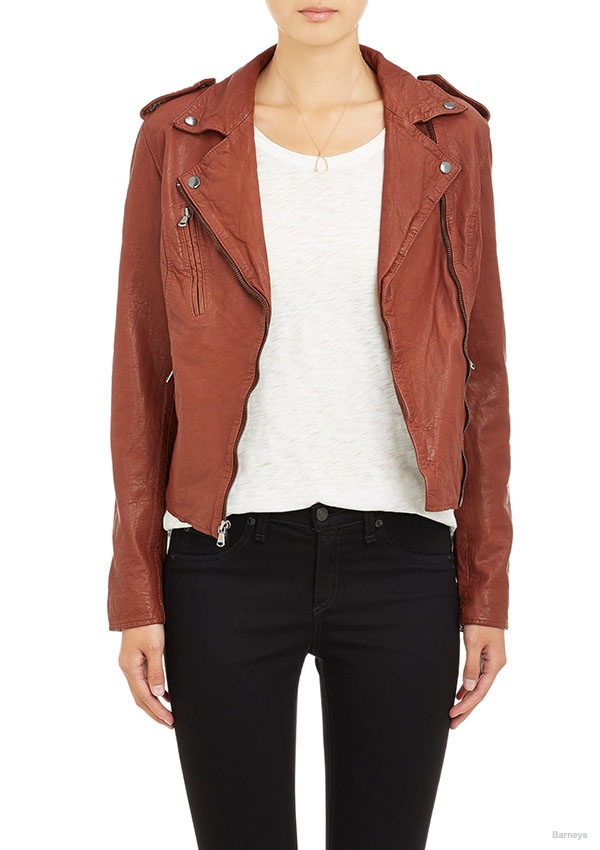 Barneys New York Leather Moto Jacket available for $299.00