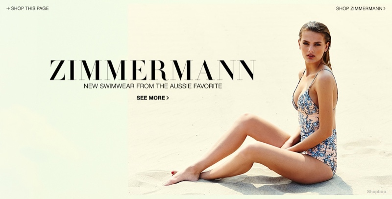 Bregje Heinen Models Zimmermann Swimsuits for Shopbop