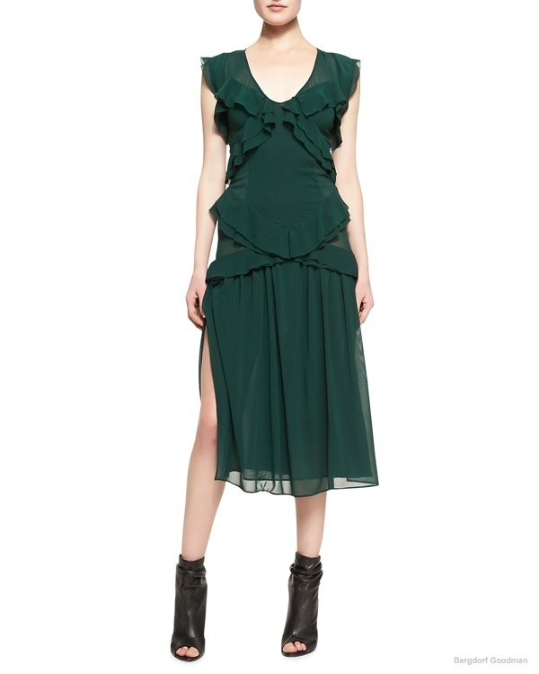 Burberry Prorsum Ruffled V-Neck Chiffon Midi Dress  available at Bergdorf Goodman for $1,917.00