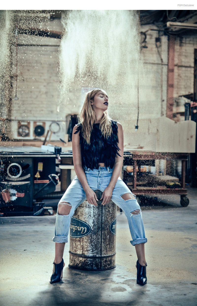 (This Image & Next) Feather Top Nicole Miller, Relaxed Straight Denim Re/Dun, Booties Stylist's own