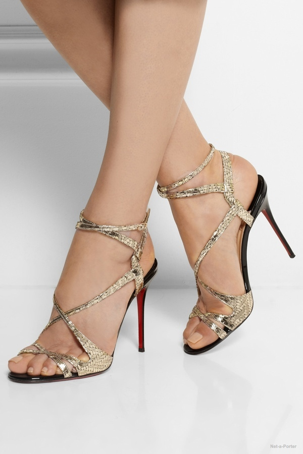b2495f54f23 Christian Louboutin Audrey 100 metallic coated suede sandals available at  Net-a-Porter for