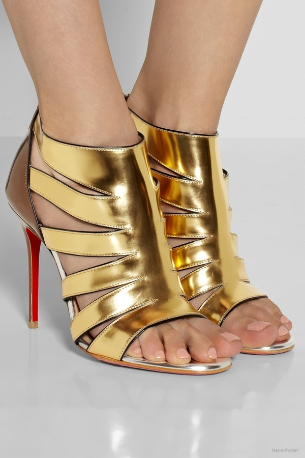 christian louboutin audrey 100 metallic coated suede sandals