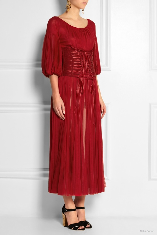 Dolce & Gabbana Corseted silk-tulle midi dress available at Net-a-Porter for $3,357