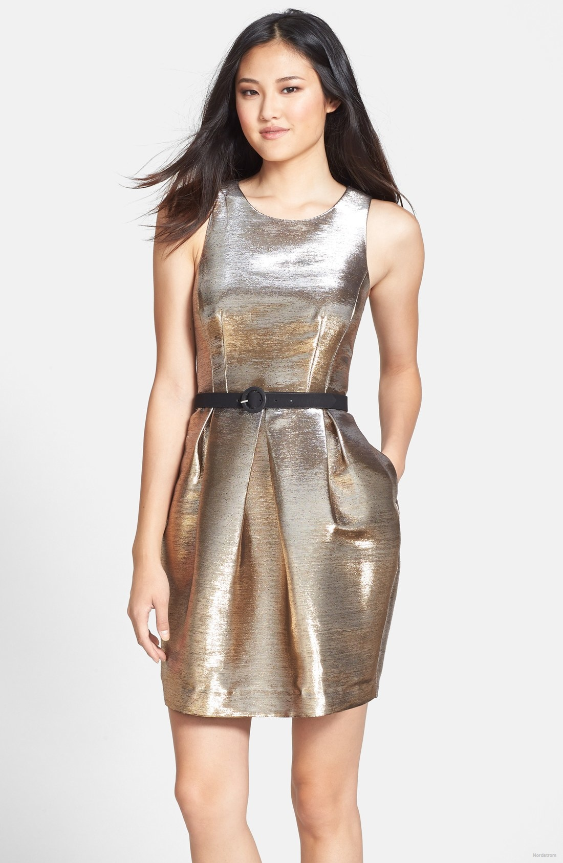 eliza-j-belted-metallic-tulip-dress
