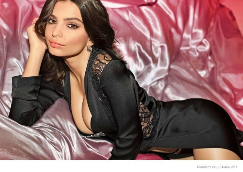 Emily Ratajkowski Has a Red Hot Christmas in New Yamamay Ads