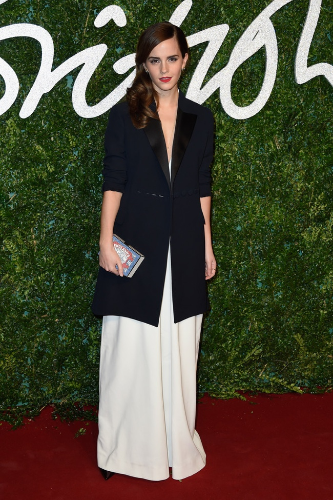 Emma Watson Wears Misha Nonoo Jumpsuit + Dior Jacket at the British Fashion Awards