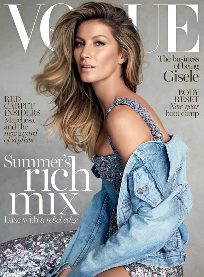 Gisele Bundchen Wears Denim & Couture on Vogue Australia January 2015 Cover