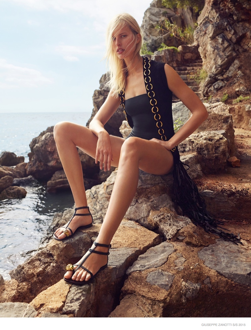 Karolina Kurkova Poses Seaside for Giuseppe Zanotti Spring 2015 Ads