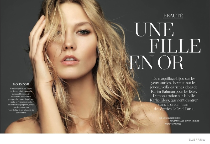 Karlie Kloss is A Golden Goddess in Makeup Story for Elle France