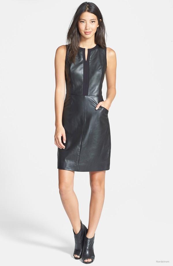 Halogen Leather & Ponte Sheath Dress