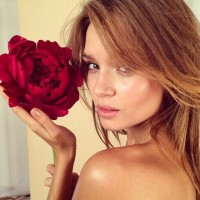 Josephine Skriver poses with a red flower