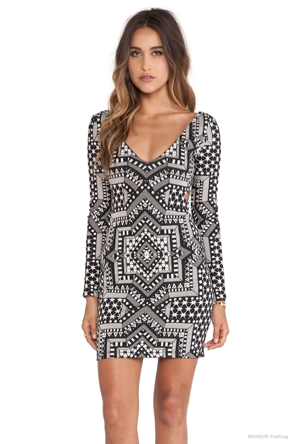 Mara Hoffman Deep V, Side Cut Out Dress in Star Jacquard available at REVOLVE Clothing for $194.00