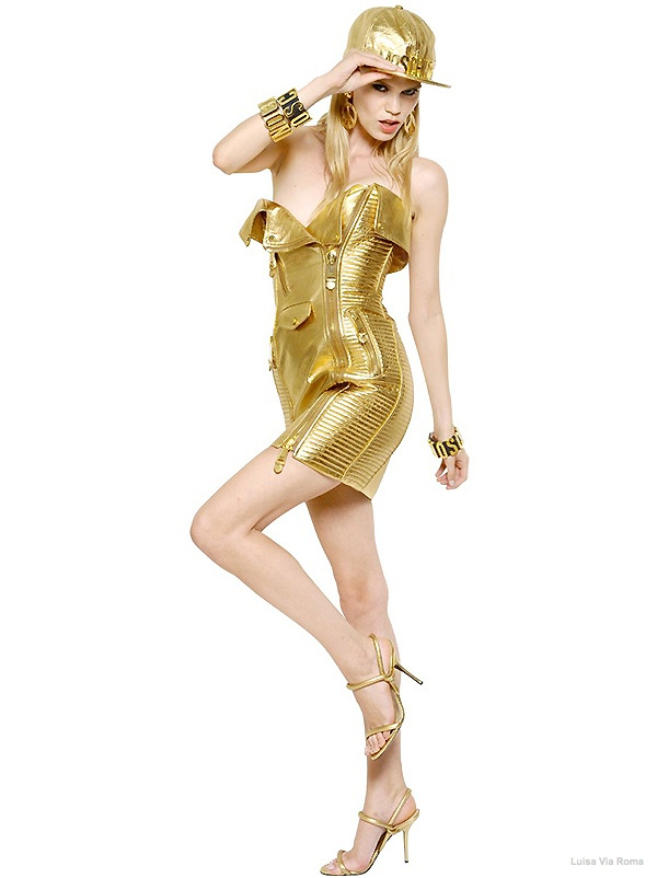 Moschino Gold Faux Leather Biker Dress available at Luisa Via Roma for $6095