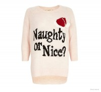 Naughty or Nice Christmas Sweater available at River Island for $70.00