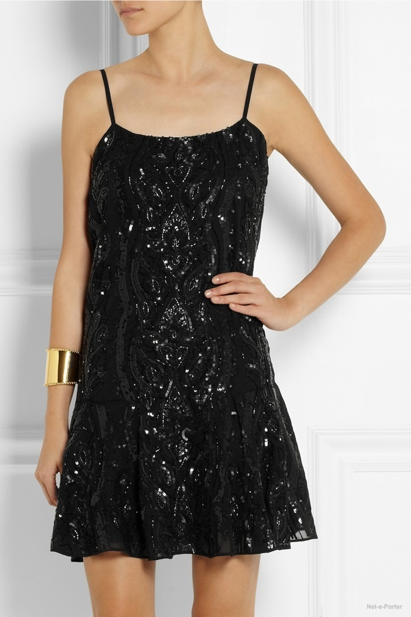 See seven embellished party dresses available on sale now at Net-a-Porter. From Anna Sui's sparkling sequins to Saint Laurent's PVC and leather mix, buy these looks before they are gone.