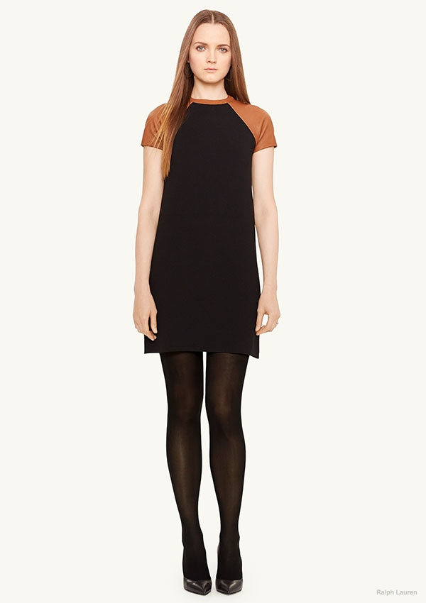Ralph Lauren Black Label Leather-Trim Wool-Blend Dress available for $428.35