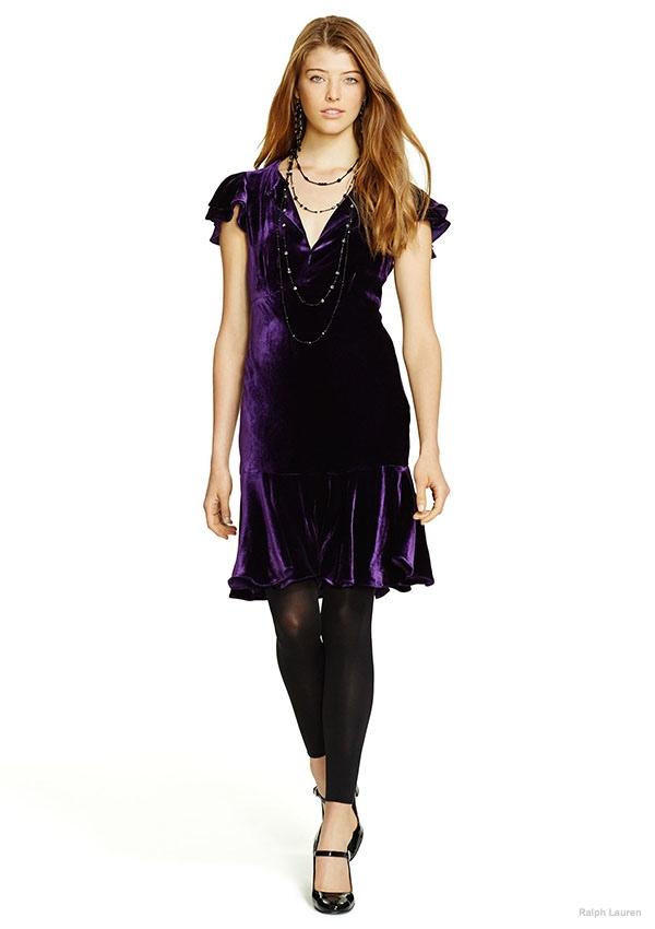 Polo Ralph Lauren Flutter-Sleeved Velvet Dress available for $209.25