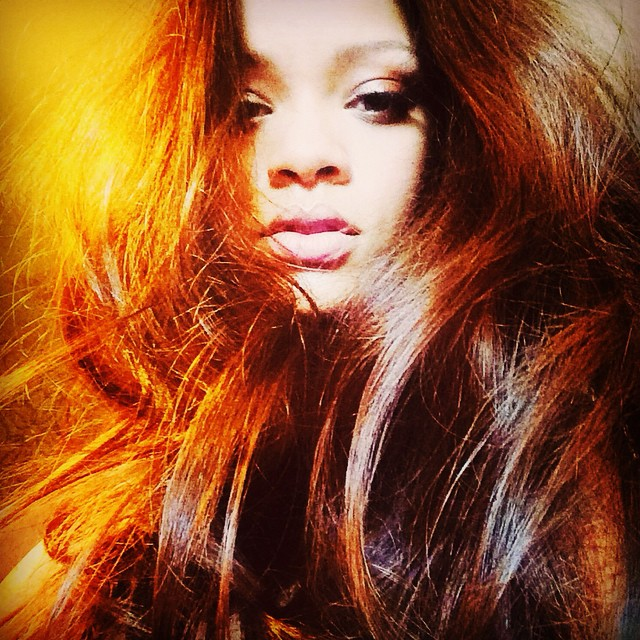 ANOTHER LOOK: In another photo, Rihanna put a filter on the image, giving her hair a reddish undertone.