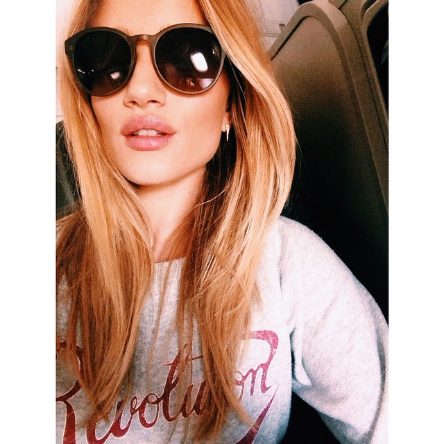 BEFORE: An image of Rosie Huntington-Whiteley from earlier this year with longer locks.
