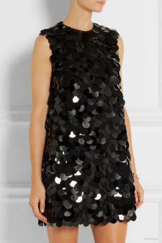 Saint Laurent Leather & PVC-embellished Crepe Mini Dress