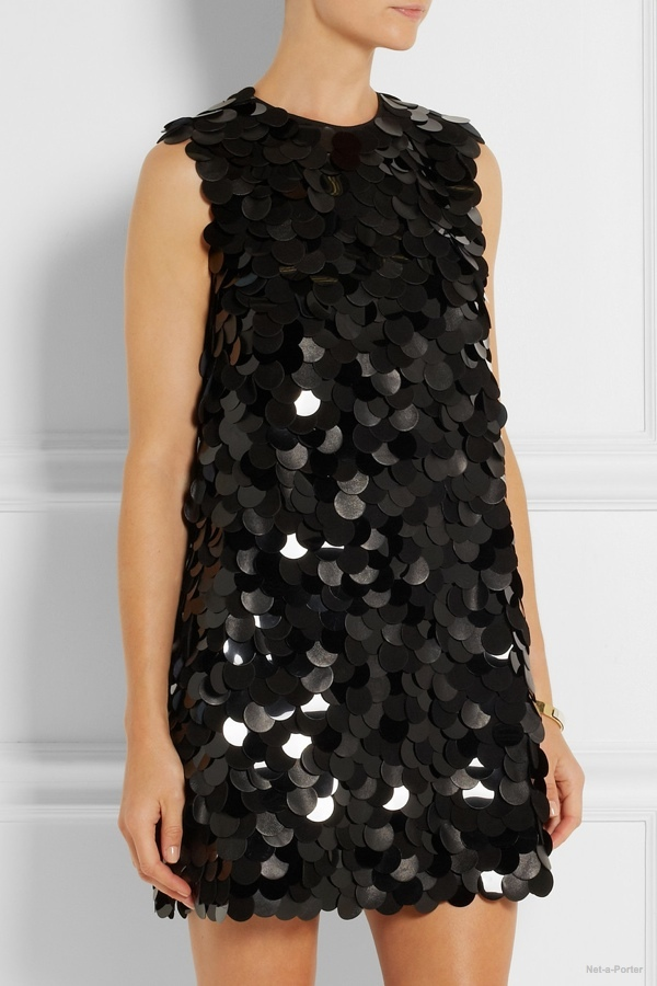 saint-laurent-leather-pvc-embellished-crepe-dress