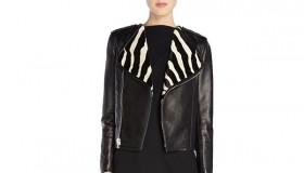 Saint Laurent Zebra-Collar Moto Jacket available for $2199.00