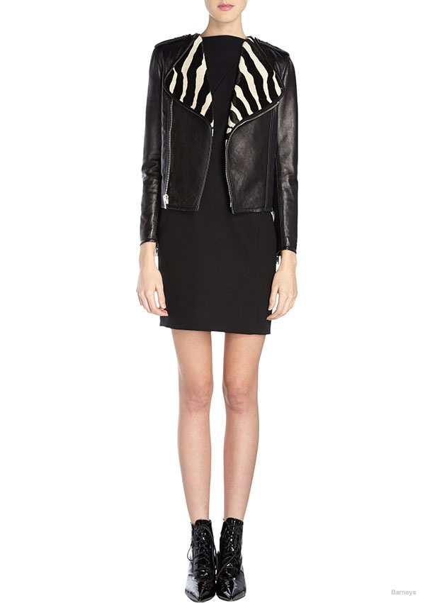 Saint Laurent Zebra-Collar Moto Jacket available for $2199.00