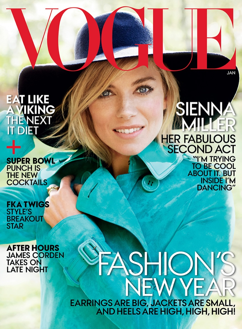 The January 2015 issue of Vogue US features British actress Sienna Miller on the cover photographed by Mario Testino.