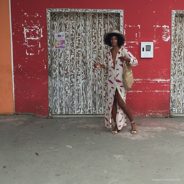 A long print maxi dress worn by Solange makes a relaxed statement