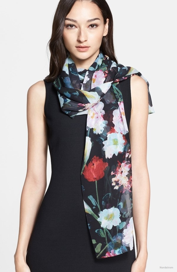 St. John Collection Floral Print Silk Georgette Scarf