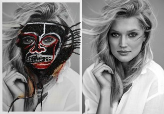Toni Garrn by Hunter & Gatti.  (L) Re-worked version (R) Original