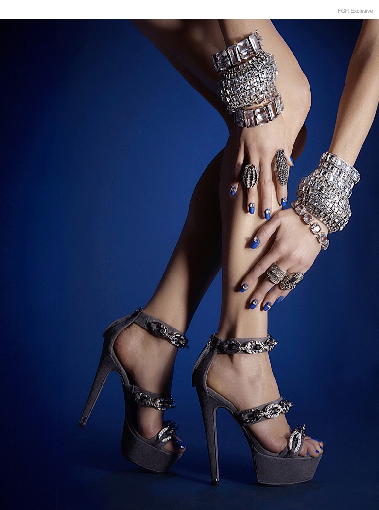 Halston Sandals, Alexis Bittar (Ring Finger Left Hand), Janis Savitt (Middle Finger Left Hand), Alexis Bittar (Pointer Finger Right Hand), Lulu Frost (Ring Finger Right Hand), Lazaro (All Bracelets On Both Wrists), Nail Color Bouncer by Essie