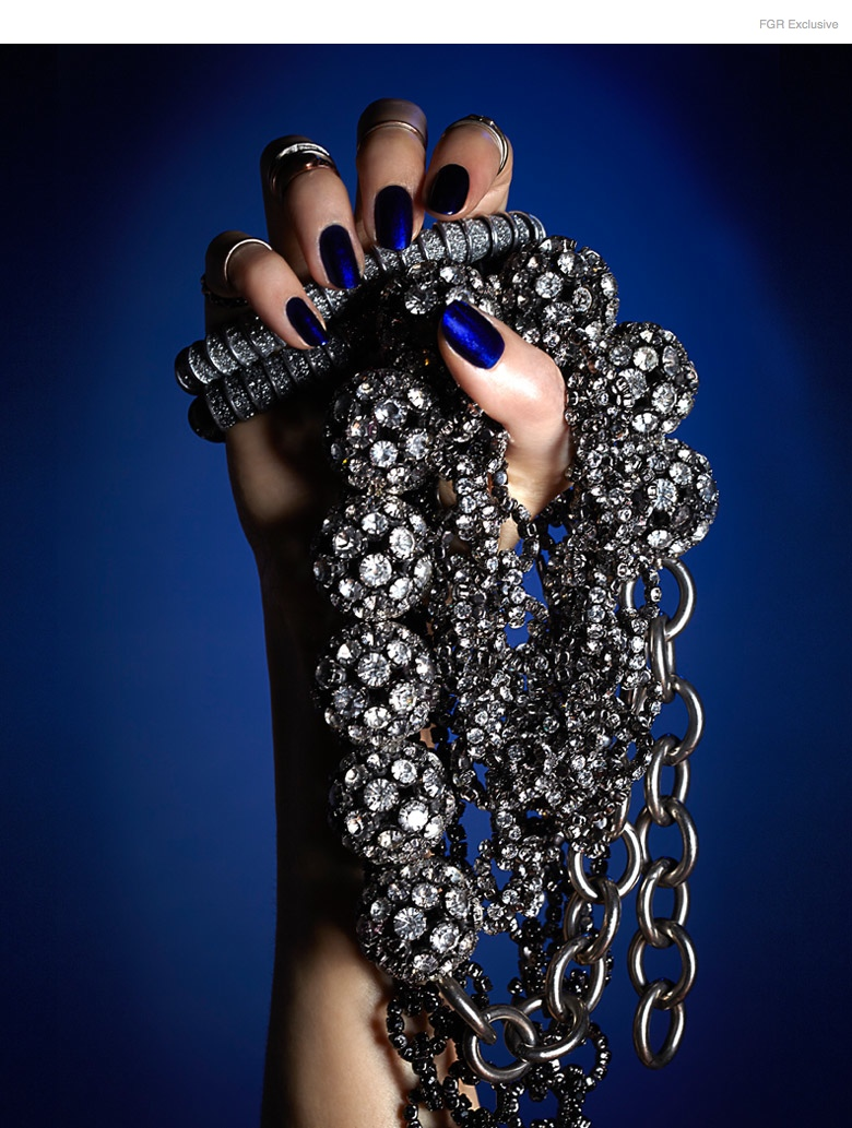 (From Outside In) Stylist's own Midi Rings, KMO 2 Top Bracelets, Janis Savitt Crystal Disco Ball Necklace, Vera Wang Crystal Chain-Link Necklace, Nail Color Bouncer by Essie, Matte Topcoat by Caption