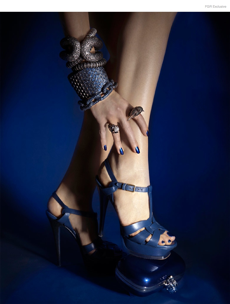 (From Bottom Up) KMO All Bracelets, Noir Bird Ring (On Pointer Finger), Stylist's own Ring (Ring Finger) , YSL Sandals, Nail Color Metallica Blue by Kleancolor