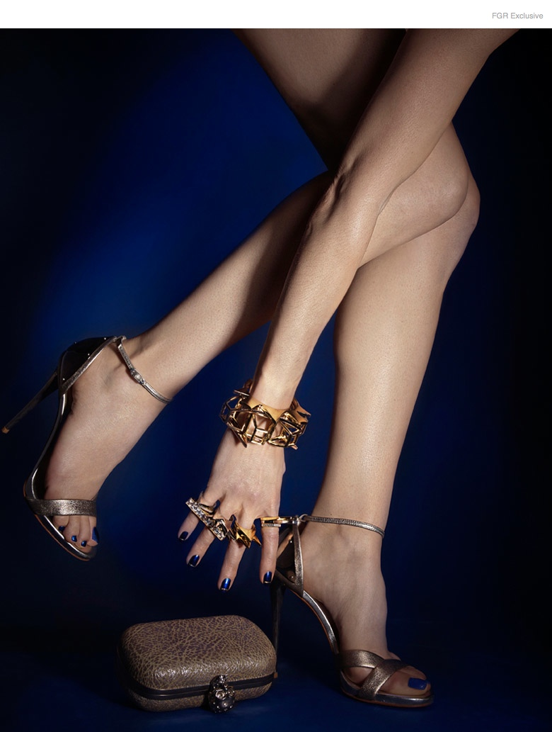 Alexander McQueen Clutch, Giuseppe Zanotti Sandals, Noir All Rings, Jennifer Fisher All Bracelets and Cuffs, Nail Color Metallica Blue by Kleancolor