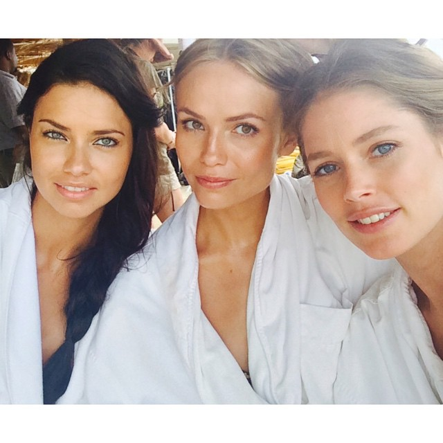 Adriana Lima, Natasha Poly and Doutzen Kroes match on set of shoot
