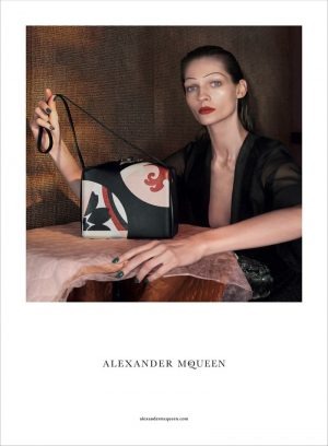 Karolin Wolter Wears Painted 'Brows for Alexander McQueen Spring 2015 Ads