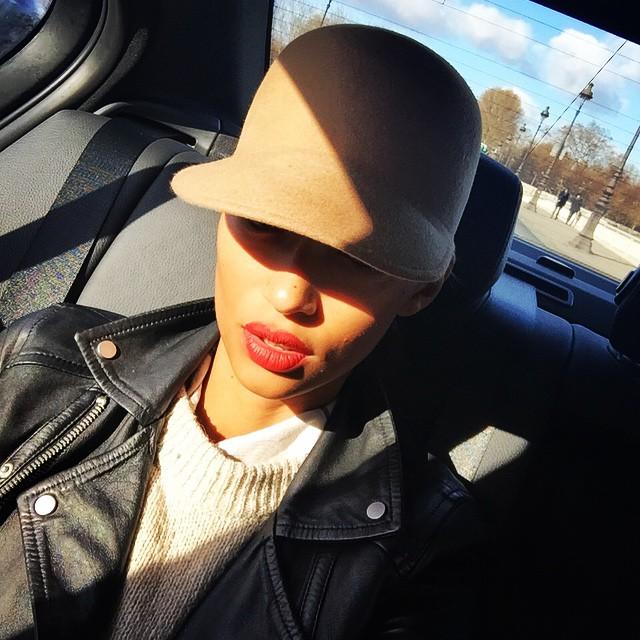 Anais Mali rocks a red lip and leather jacket