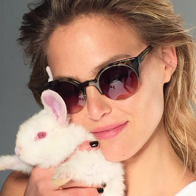 Bar Refaeli on set with her co-star, a bunny!