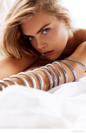 Cara Delevingne Lays in Bed for John Hardy Spring '15 Jewelry Ads