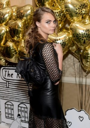 Cara Delevingne Rocks Leather Mulberry Dress at 2015 BAFTA LA Tea Party