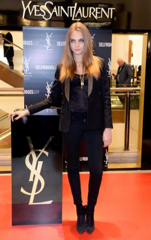 Cara Delevingne Smolders in All Back at YSL Beauté x Selfridges Event