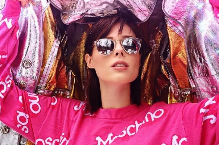 coco-rocha-pink-moschino-sweater