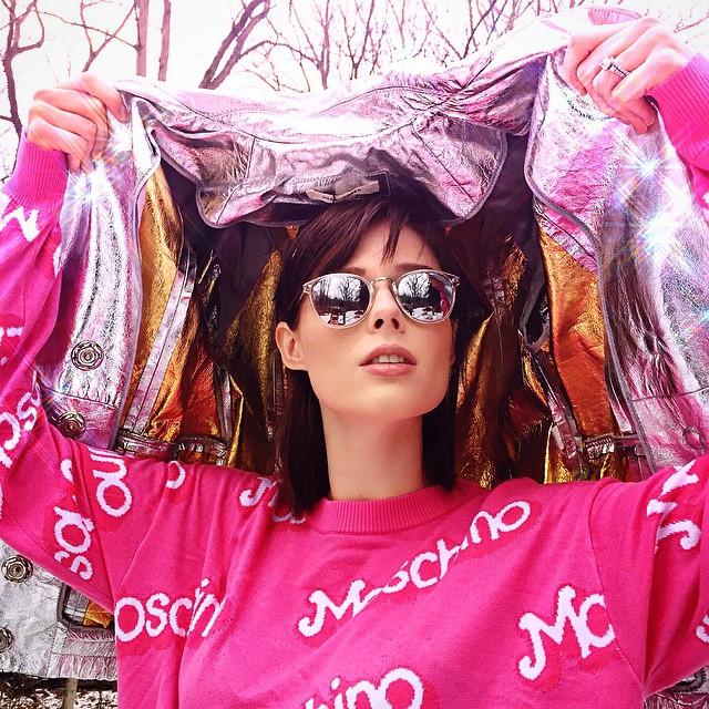 Get the Look: Coco Rocha's Moschino Sweatshirt