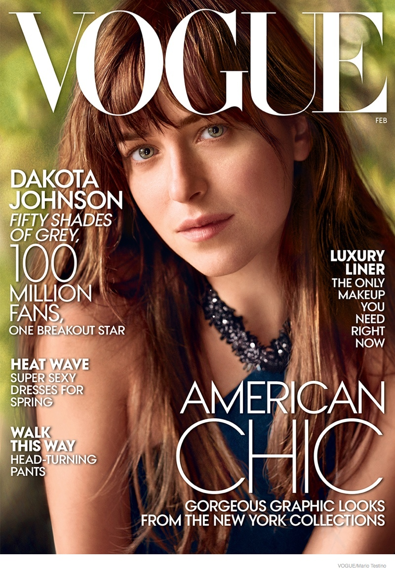 "The February 2015 issue of Vogue features ""Fifty Shades of Grey"" star Dakota Johnson on the cover photographed by Mario Testino."