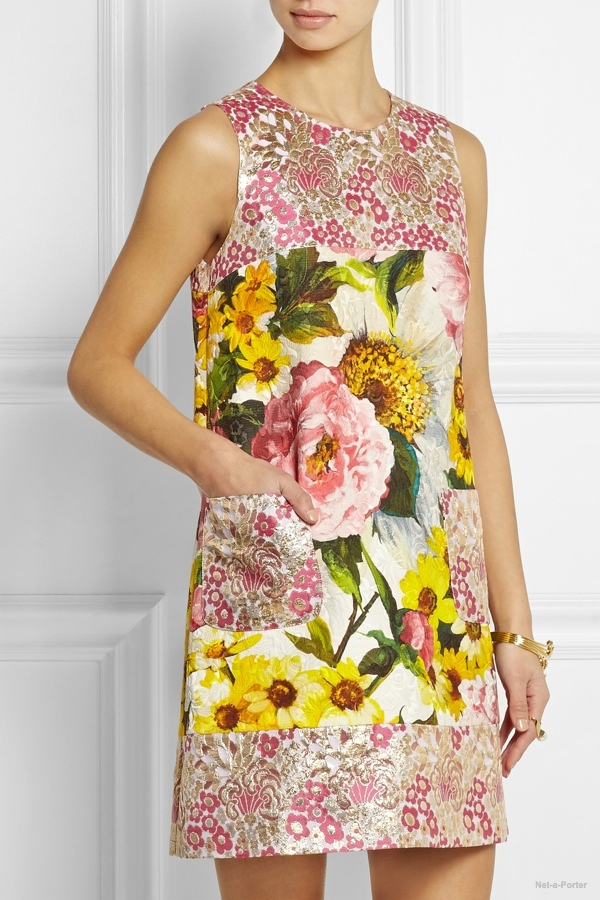 Dolce & Gabbana floral-jacquard mini dress available at Net-a-Porter
